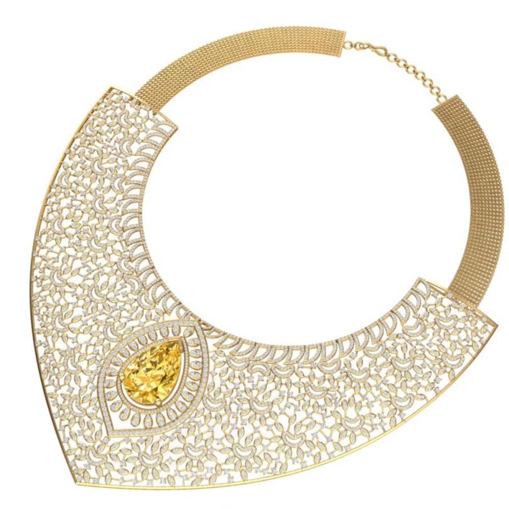 Lot 5131: 59.27 ctw Canary Citrine & VS Diamond Necklace 18K Yellow Gold - REF-2454K5W - SKU:39584
