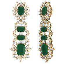 Lot 5146: 30.25 ctw Emerald & VS Diamond Earrings 18K Yellow Gold - REF-618F2N - SKU:39407
