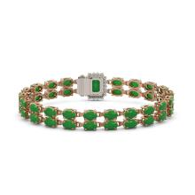 Lot 5161: 28.76 ctw Jade & Diamond Bracelet 14K Rose Gold - REF-190W9H - SKU:45819