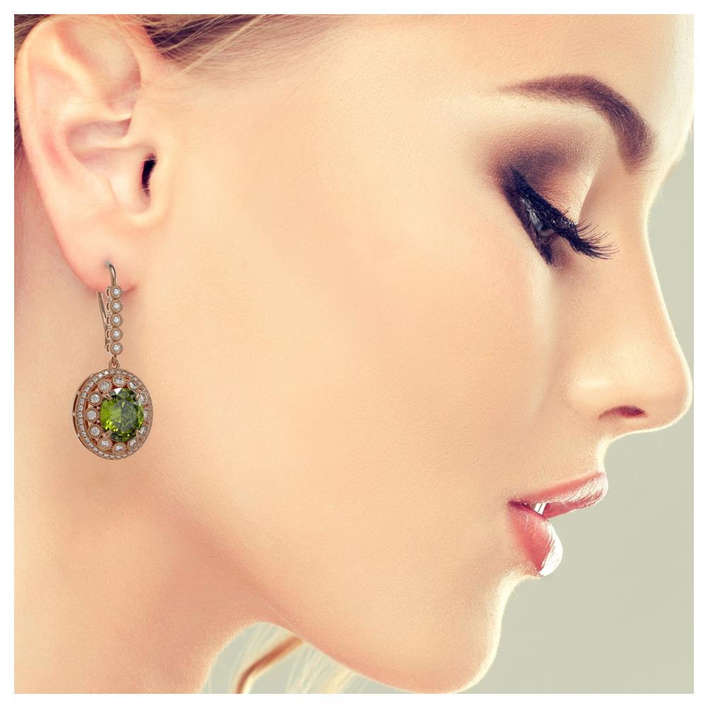 Lot 5163: 15.02 ctw Tourmaline & Diamond Earrings 14K Rose Gold - REF-401A6V - SKU:43785