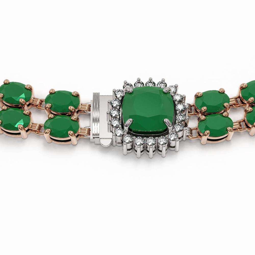 Lot 5164: 72.85 ctw Emerald & Diamond Necklace 14K Rose Gold - REF-8144K7W - SKU:44796