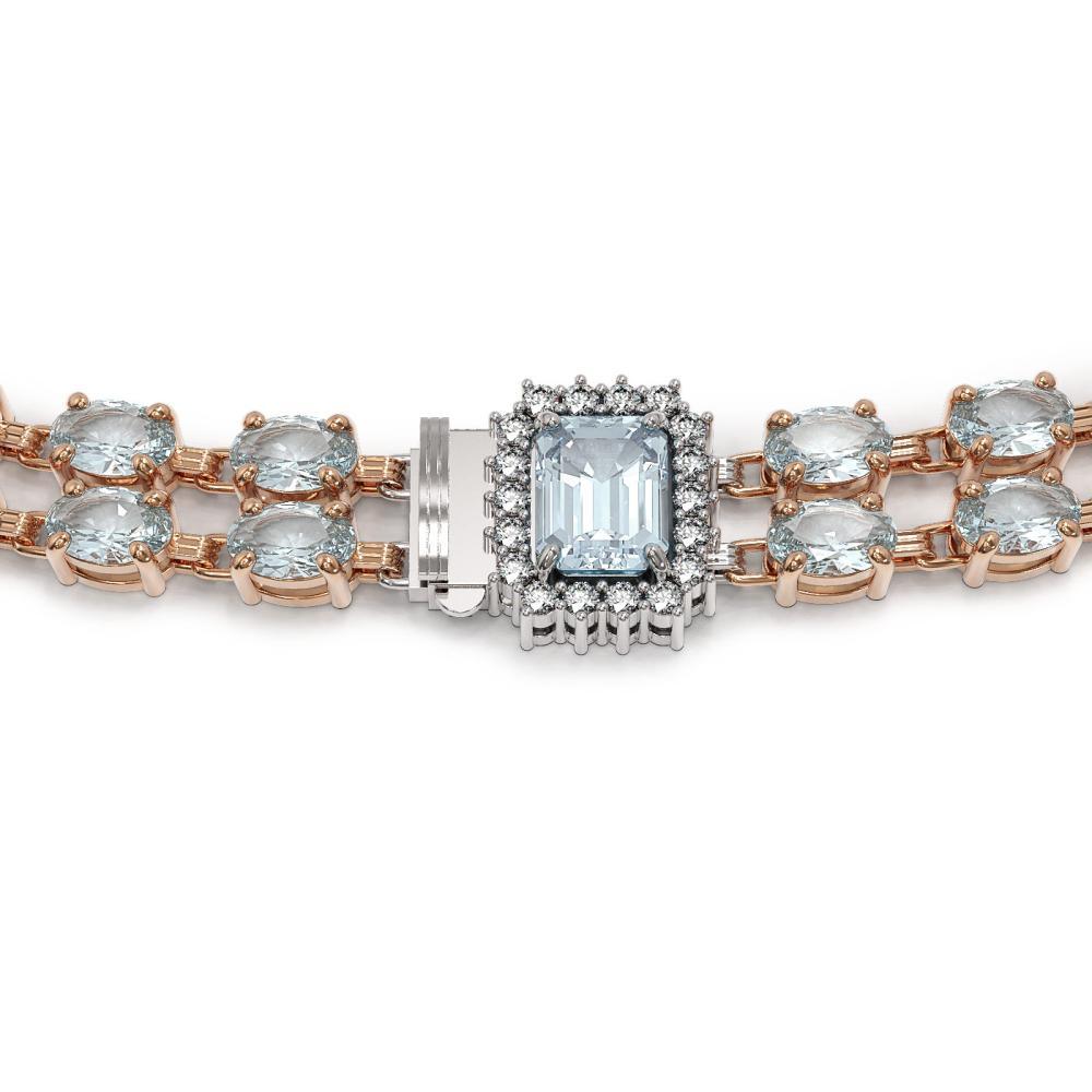 Lot 5165: 44.4 ctw Aquamarine & Diamond Necklace 14K Rose Gold - REF-619W5H - SKU:45105
