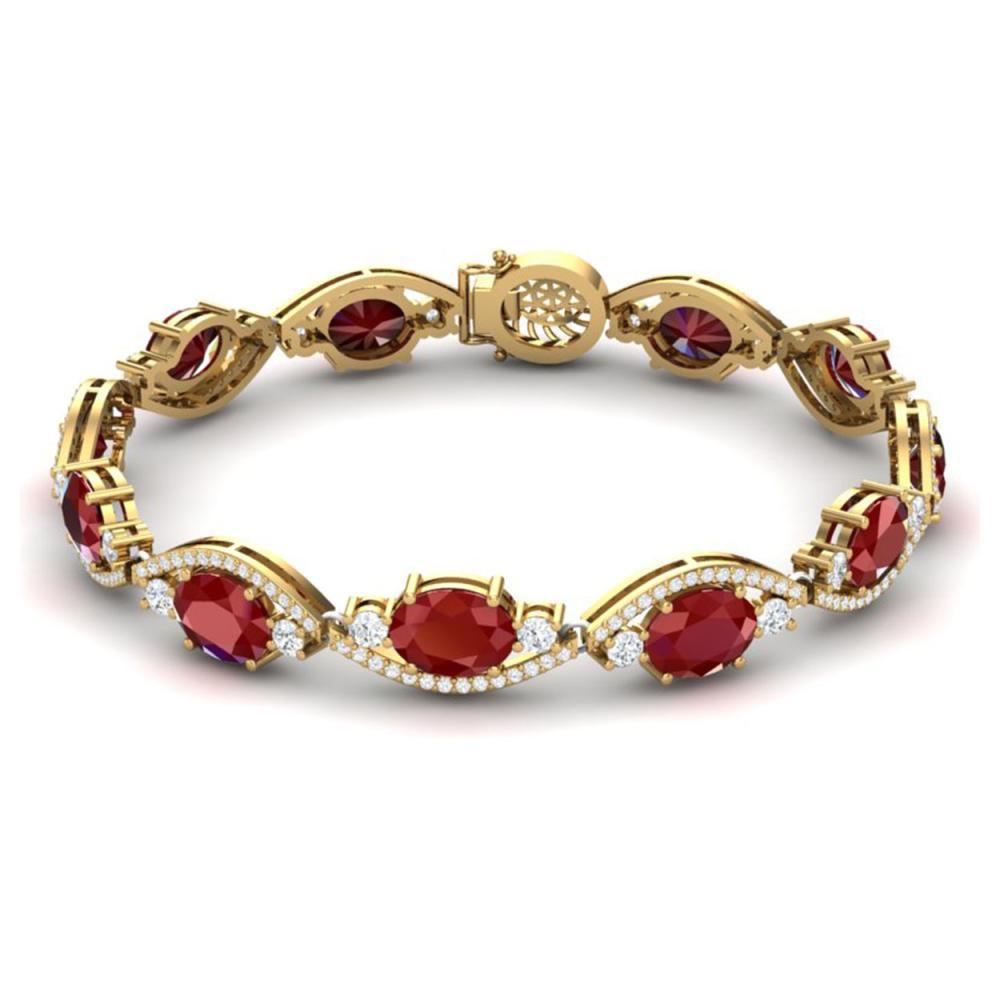 Lot 5180: 22.15 ctw Ruby & VS Diamond Bracelet 18K Yellow Gold - REF-418M2F - SKU:38963