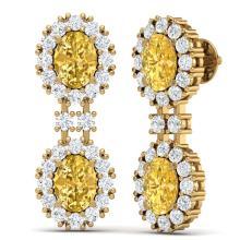 Lot 5184: 7.8 ctw Canary Citrine & VS Diamond Earrings 18K Yellow Gold - REF-180M2F - SKU:38825