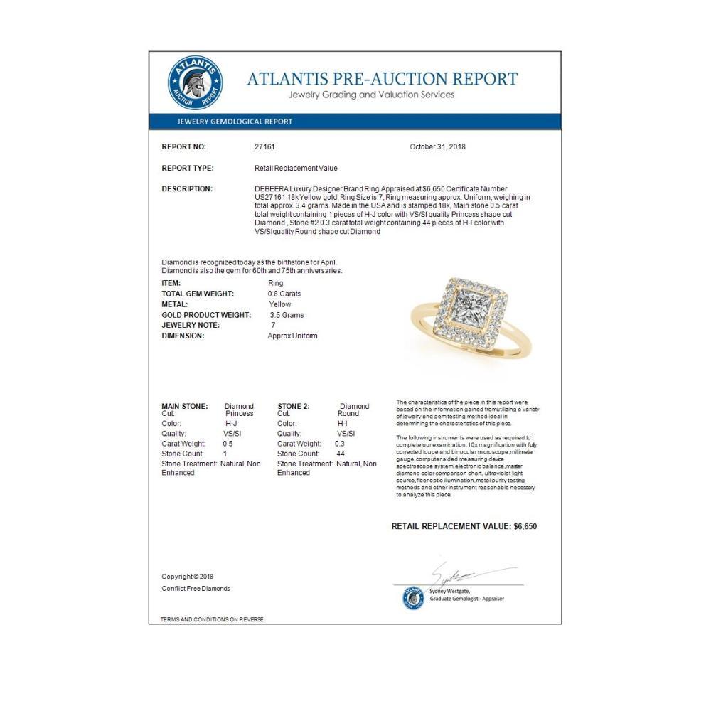Lot 5057: 0.80 ctw VS/SI Princess Diamond Halo Ring 18K Yellow Gold - REF-100A9V - SKU:27161