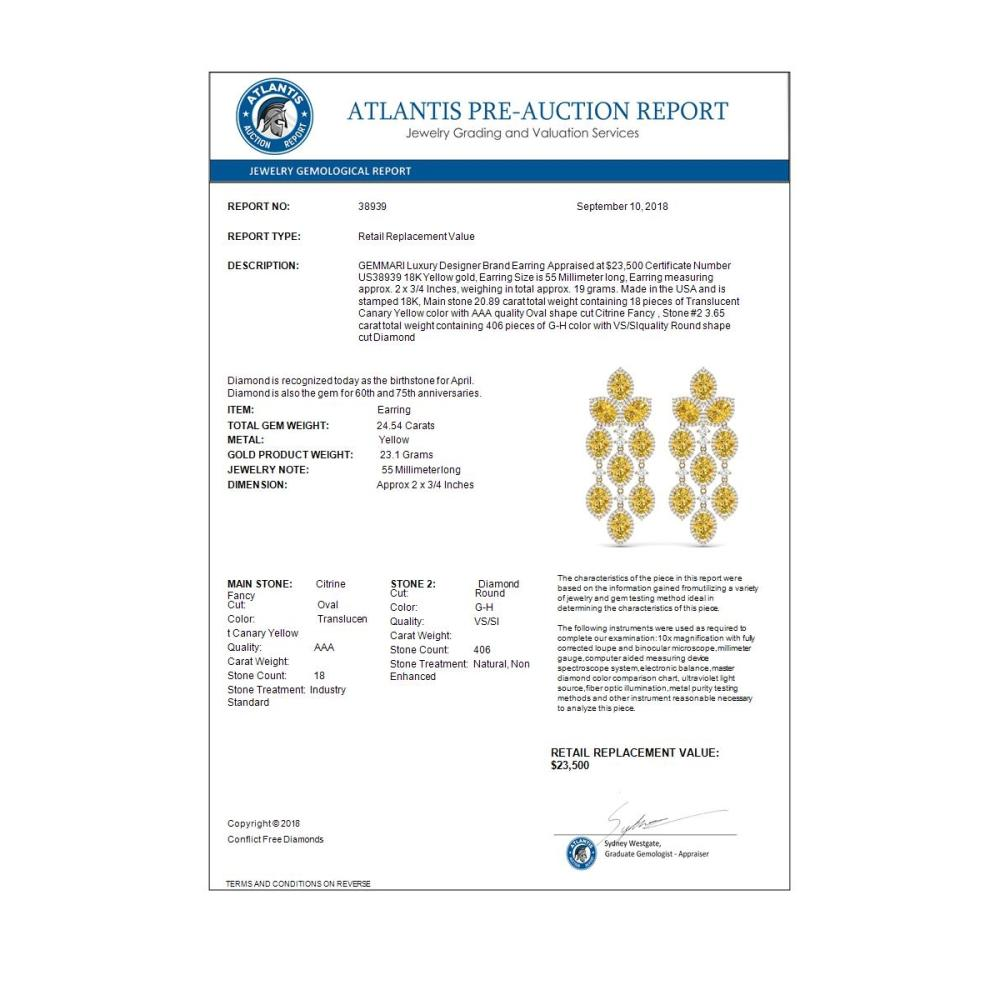 Lot 5098: 24.54 ctw Canary Citrine & VS Diamond Earrings 18K Yellow Gold - REF-427X3R - SKU:38939