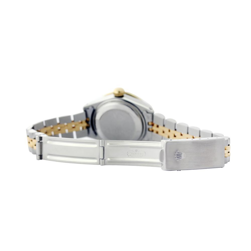Lot 5119: Rolex Ladies Two Tone 14K Gold/SS, Diam Dial & Diam/Ruby Bezel, Sapphire Crystal - REF-434M3F