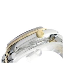 Lot 5143: Rolex Men's Two Tone 14K Gold/SS, QuickSet, Diam Dial & Diam/Emerald Bezel - REF-557K7T