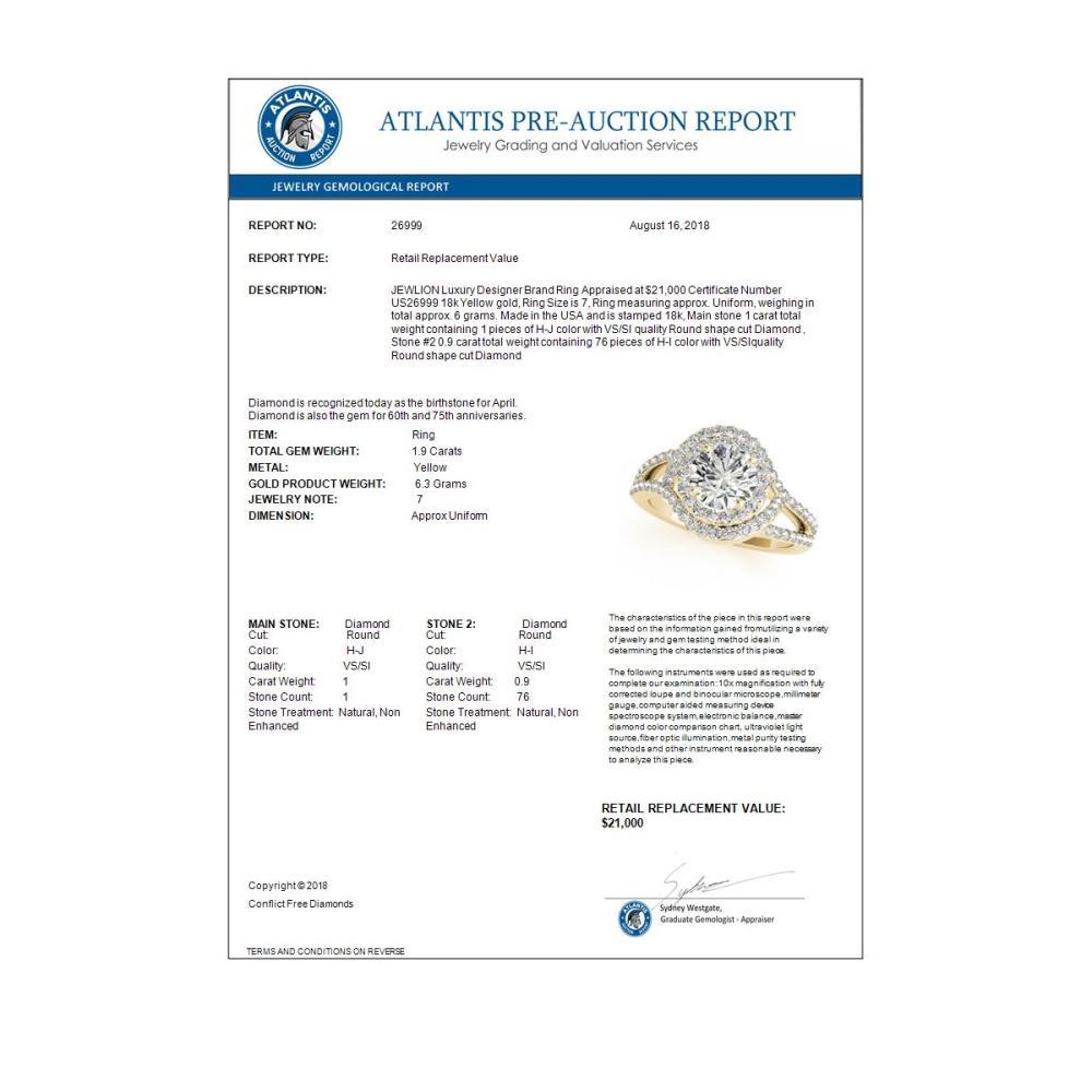 Lot 5198: 1.90 ctw VS/SI Diamond Halo Ring 18K Yellow Gold - REF-318V2Y - SKU:26999