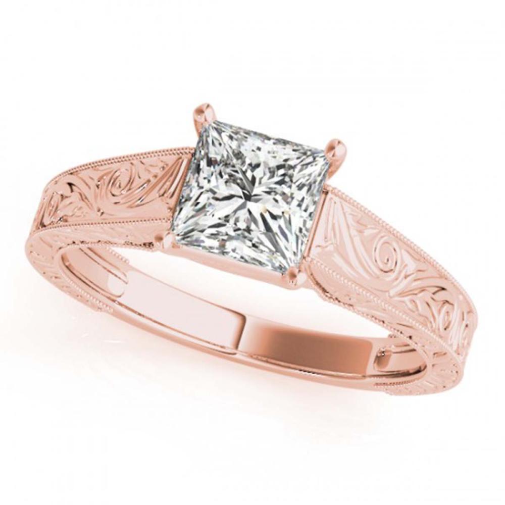0.75 ctw VS/SI Princess Diamond Ring 18K Rose Gold - REF-135H2M - SKU:28123