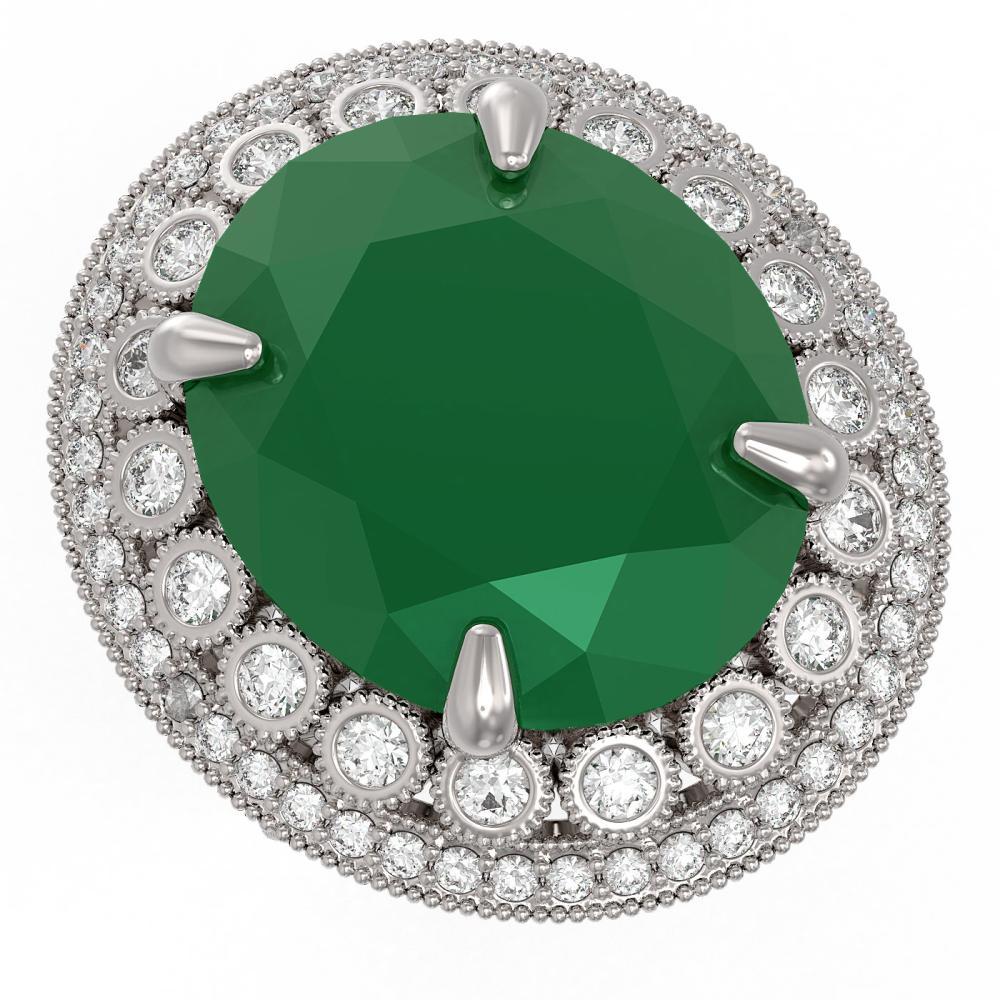 29.04 ctw Emerald & Diamond Ring 14K White Gold - REF-494H7M - SKU:43910