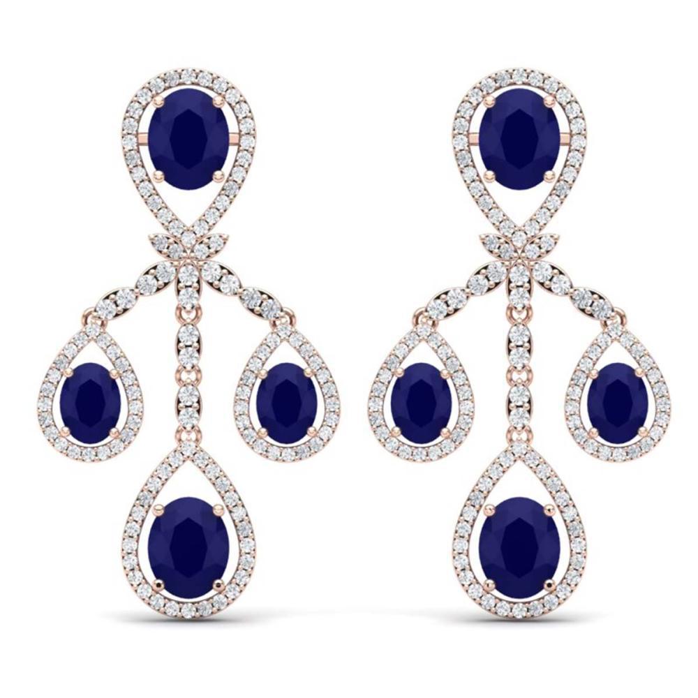 25.08 ctw Sapphire & VS Diamond Earrings 18K Rose Gold - REF-490Y9X - SKU:38578