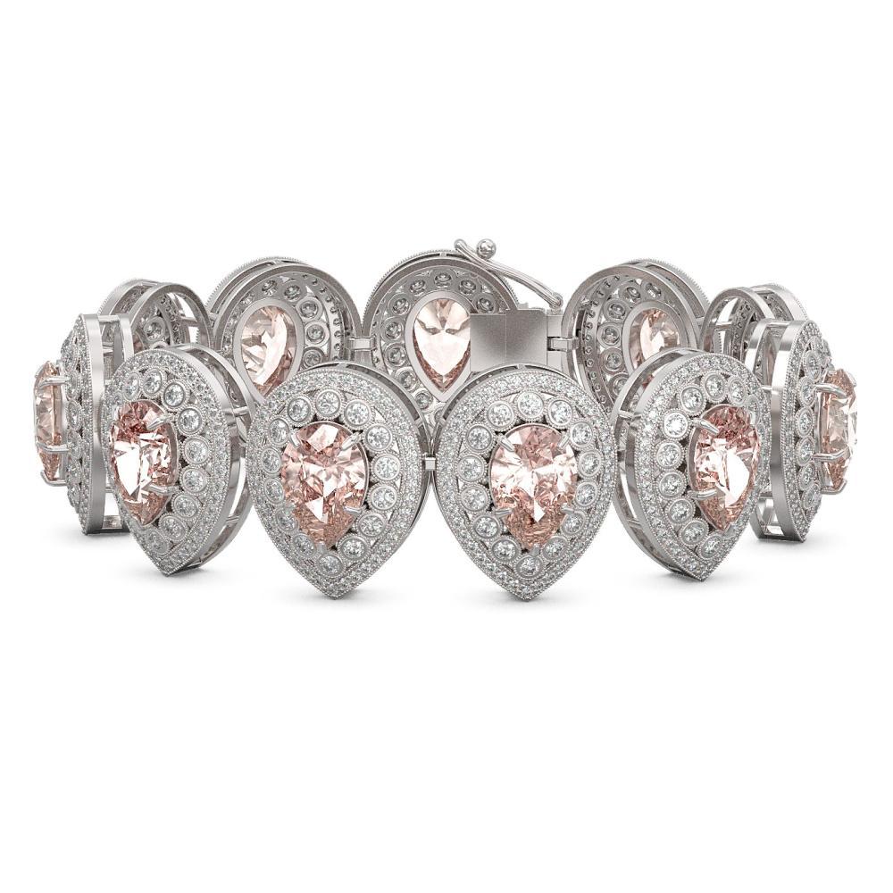 47.64 ctw Morganite & Diamond Bracelet 14K White Gold - REF-2044M4F - SKU:43277