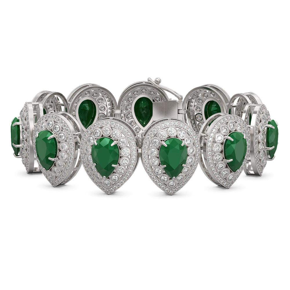 56.04 ctw Emerald & Diamond Bracelet 14K White Gold - REF-1520A7V - SKU:43253