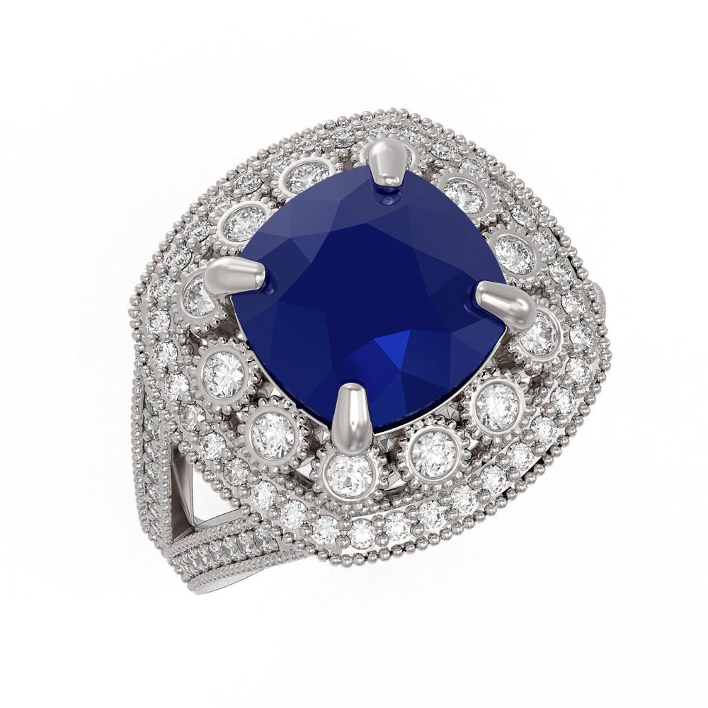 6.47 ctw Sapphire & Diamond Ring 14K White Gold - REF-142Y4X - SKU:43934