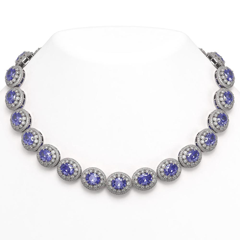 114.35 ctw Tanzanite & Diamond Necklace 14K White Gold - REF-3848V7Y - SKU:43691