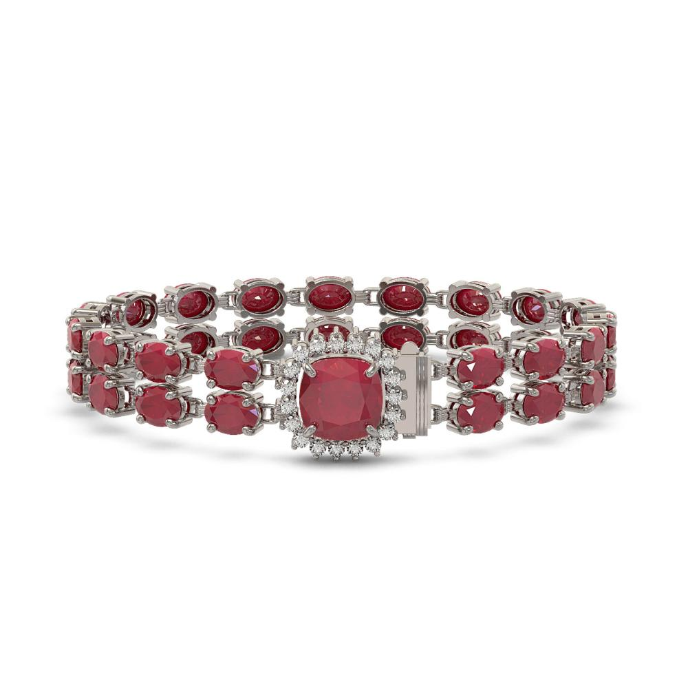 32.18 ctw Ruby & Diamond Bracelet 14K White Gold - REF-271M3F - SKU:45653
