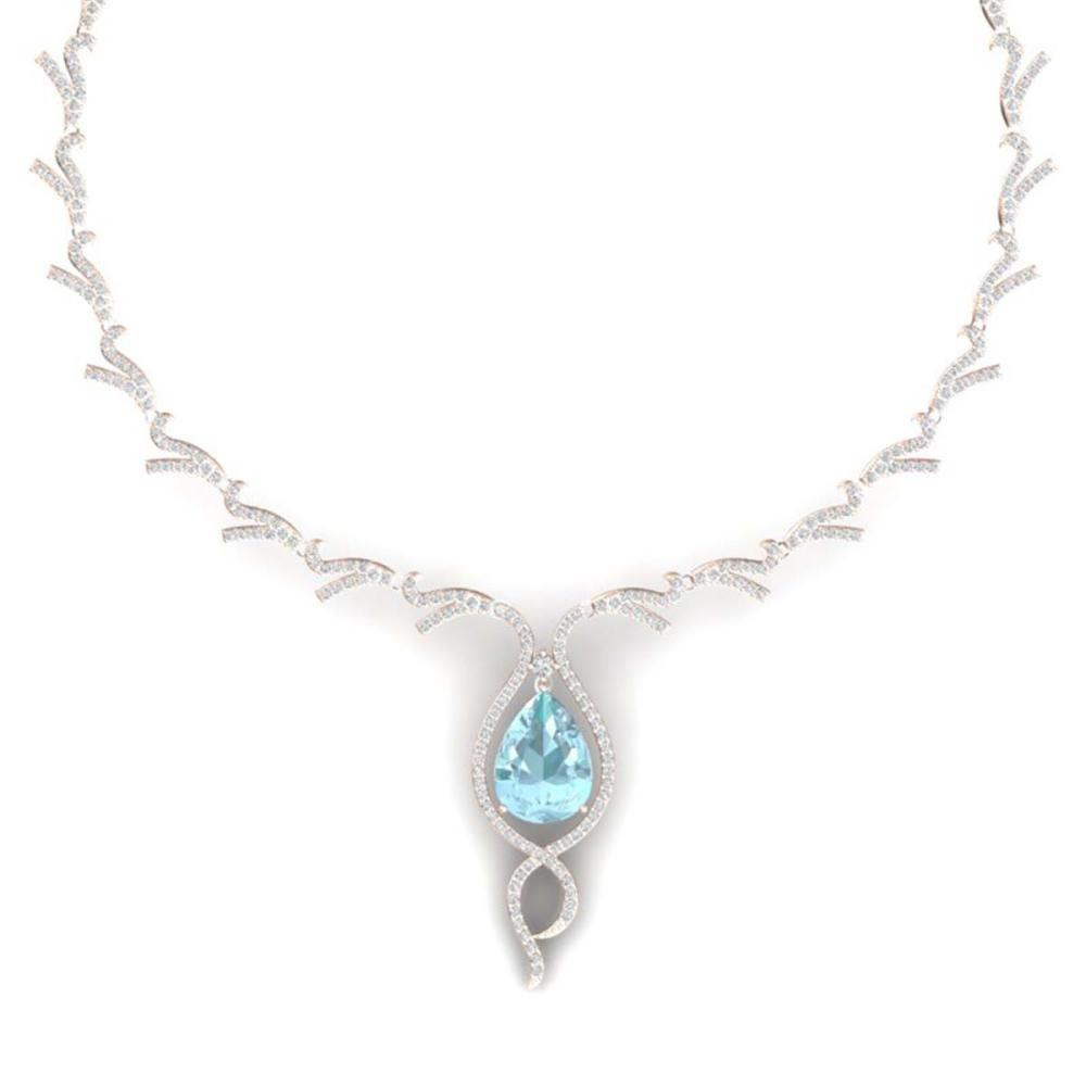 24.32 ctw Sky Topaz & VS Diamond Necklace 18K Rose Gold - REF-800W2H - SKU:39505