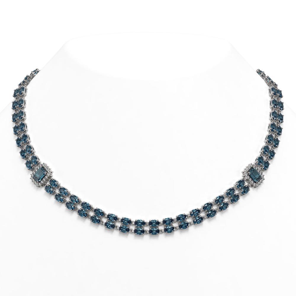 61.05 ctw London Topaz & Diamond Necklace 14K White Gold - REF-451A5V - SKU:45116