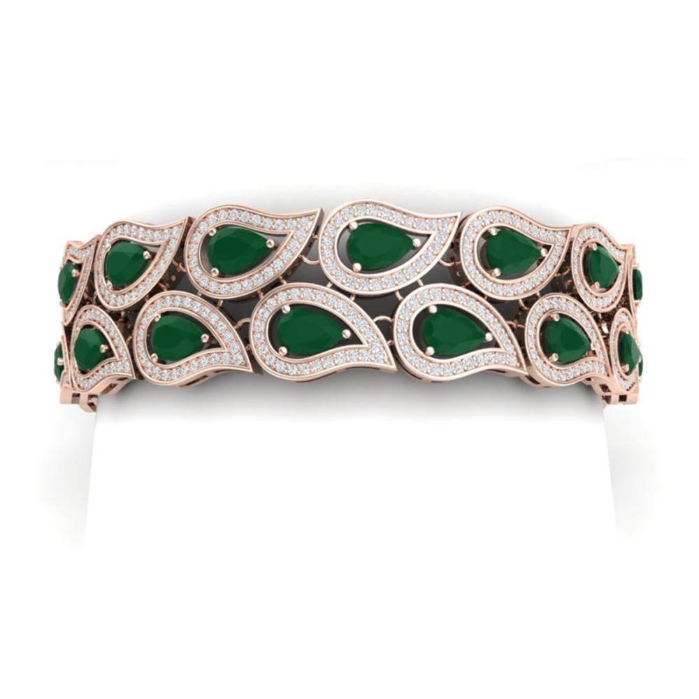 20.1 ctw Emerald & VS Diamond Bracelet 18K Rose Gold - REF-818X2R - SKU:39481