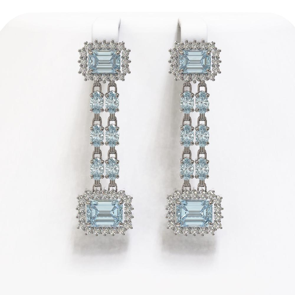 10.82 ctw Aquamarine & Diamond Earrings 14K White Gold - REF-242H2M - SKU:45218