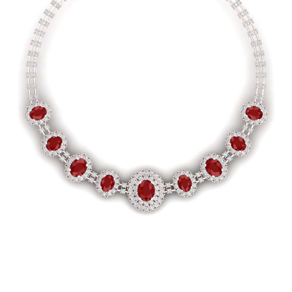 45.69 ctw Ruby & VS Diamond Necklace 18K Rose Gold - REF-1618V2Y - SKU:38794