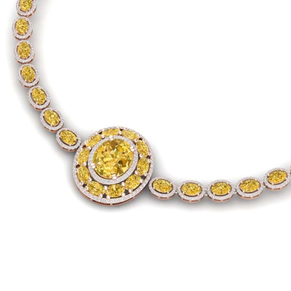 39.04 ctw Canary Citrine & VS Diamond Necklace 18K Rose Gold - REF-890A9V - SKU:39289