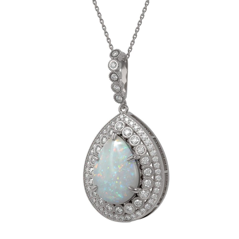 10.77 ctw Opal & Diamond Necklace 14K White Gold - REF-313H3M - SKU:43331