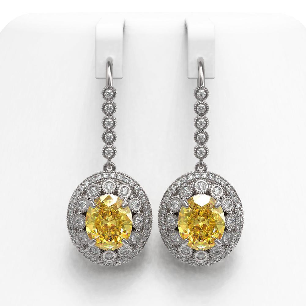 15.44 ctw Canary Citrine & Diamond Earrings 14K White Gold - REF-306R2K - SKU:43778