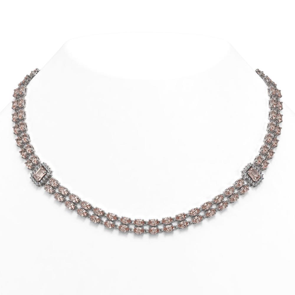 58.78 ctw Morganite & Diamond Necklace 14K White Gold - REF-812Y5X - SKU:45092