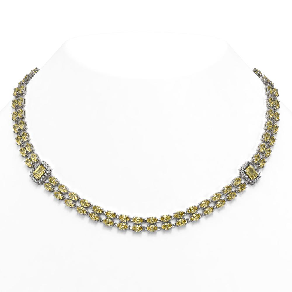 51.66 ctw Citrine & Diamond Necklace 14K White Gold - REF-427K3W - SKU:45122