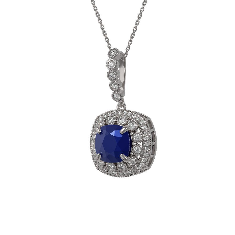6.58 ctw Sapphire & Diamond Necklace 14K White Gold - REF-140A4V - SKU:44006