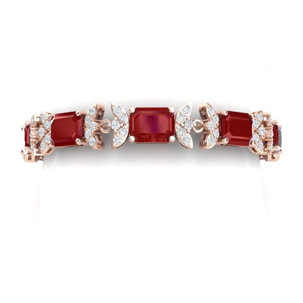 38.13 ctw Ruby & VS Diamond Bracelet 18K Rose Gold - REF-527H3M - SKU:39394