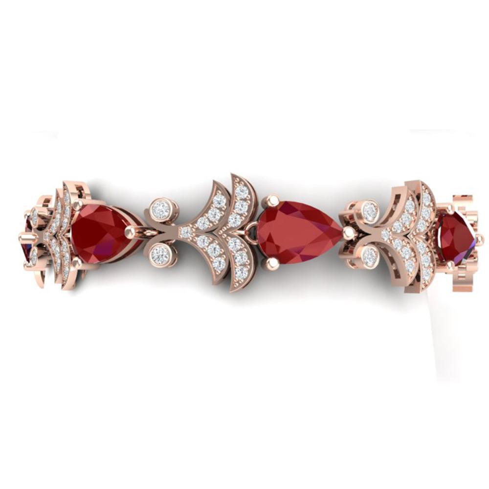 24.8 ctw Ruby & VS Diamond Bracelet 18K Rose Gold - REF-472F7N - SKU:38734
