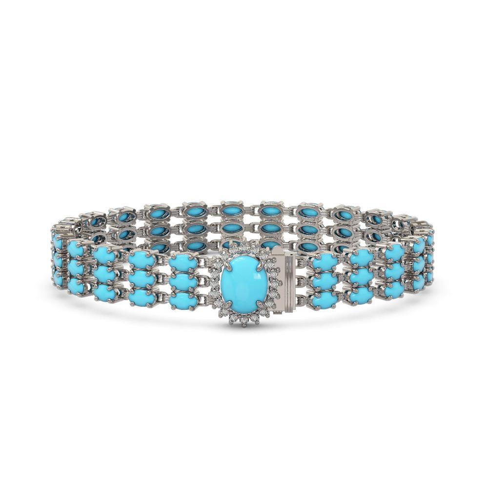 20.13 ctw Turquoise & Diamond Bracelet 14K White Gold - REF-225M3F - SKU:45872
