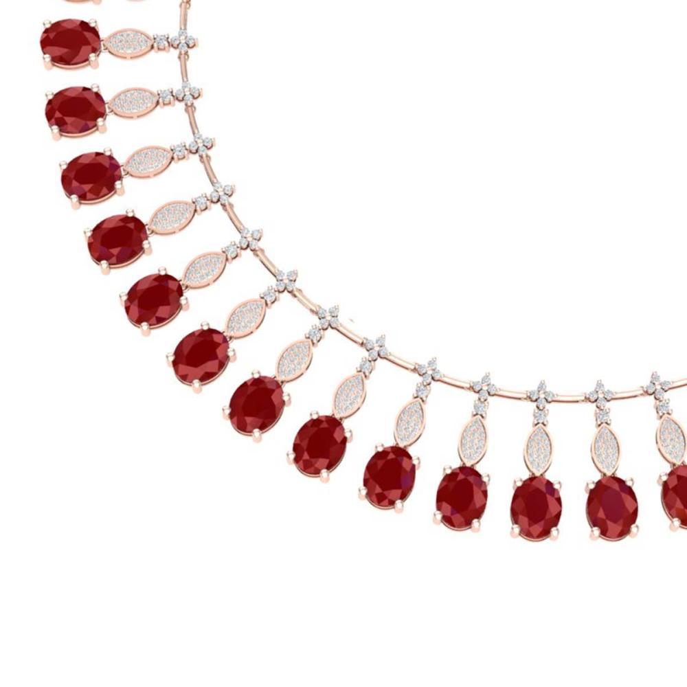 65.62 ctw Ruby & VS Diamond Necklace 18K Rose Gold - REF-1254M5F - SKU:39124