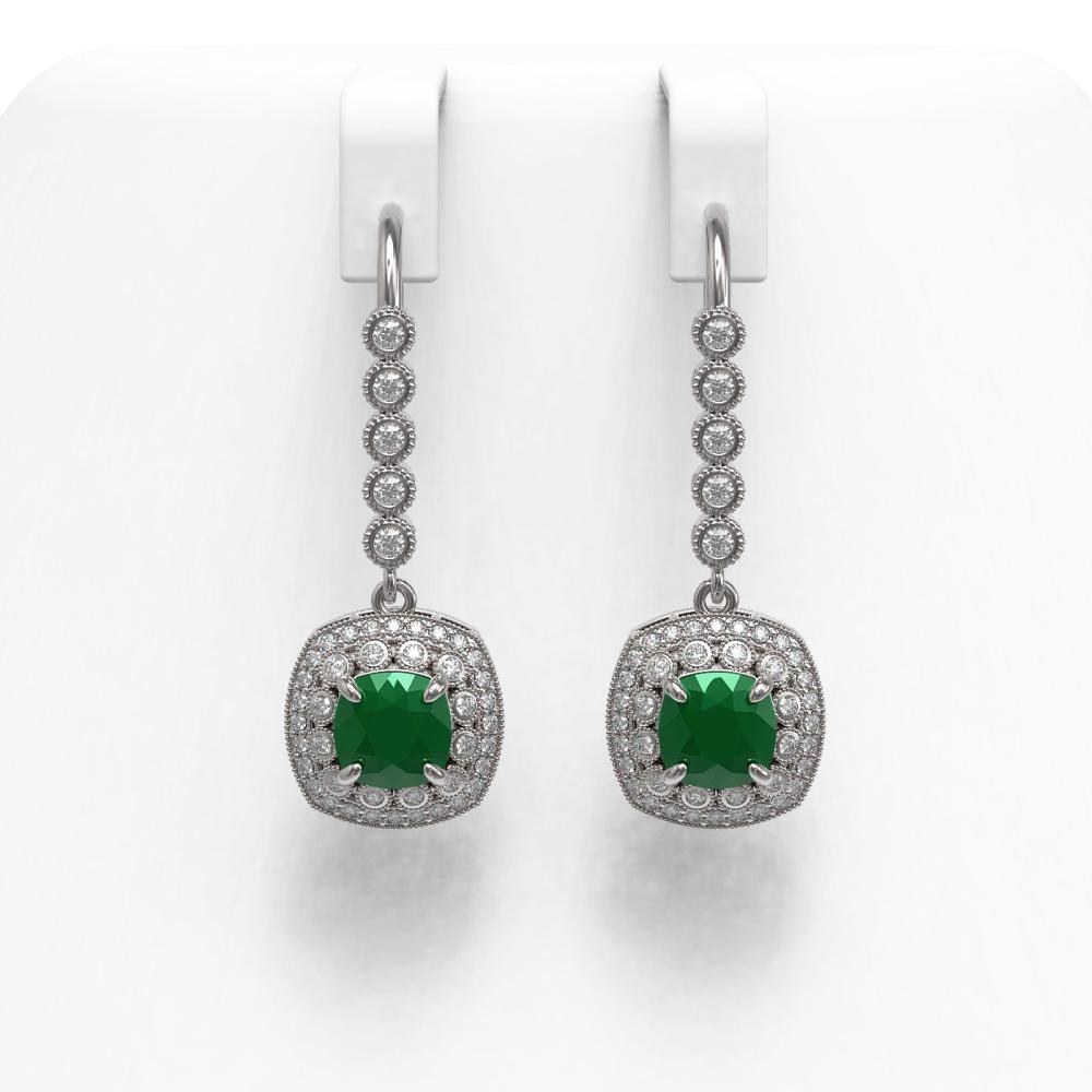 5.1 ctw Emerald & Diamond Earrings 14K White Gold - REF-144X4R - SKU:44048