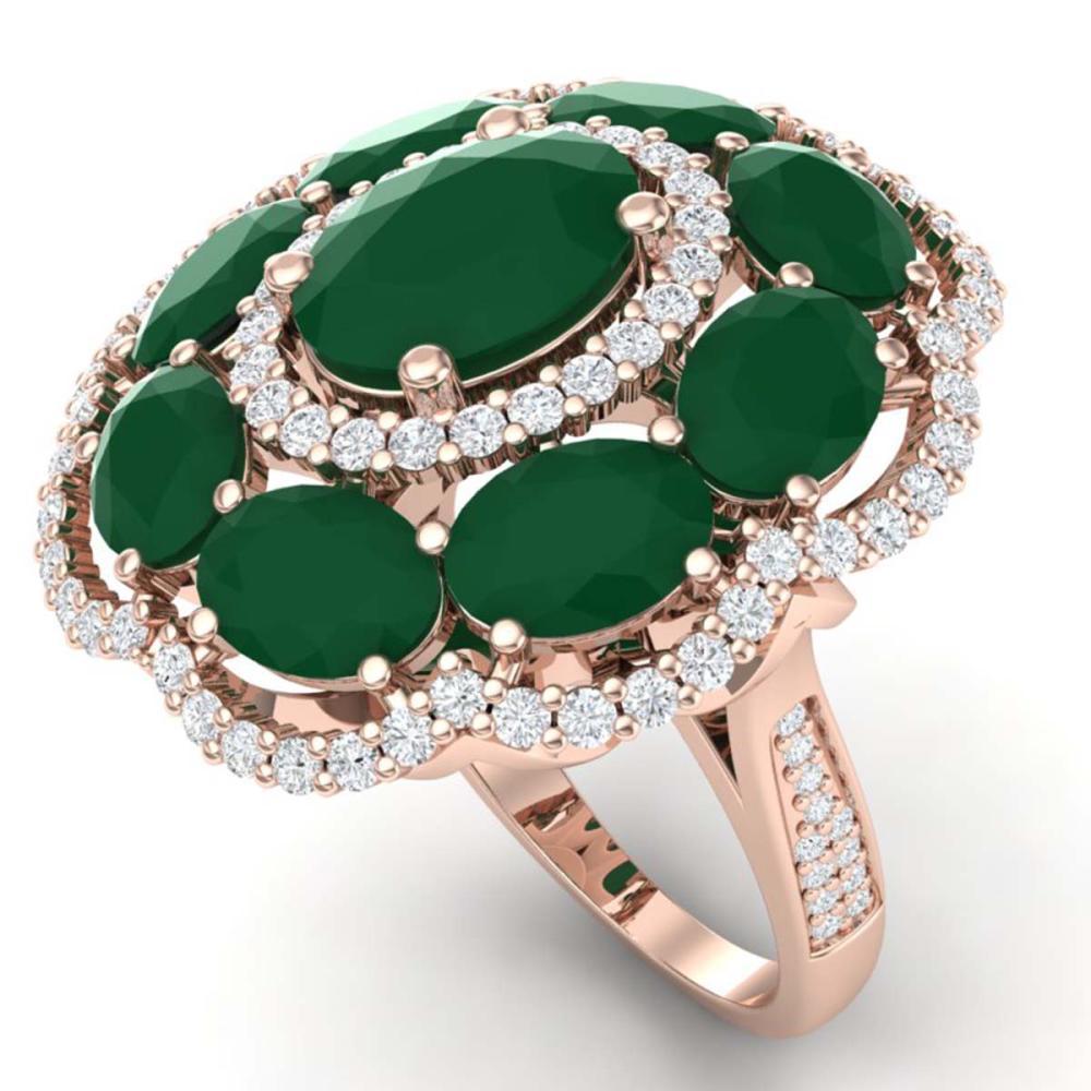 14.4 ctw Emerald & VS Diamond Ring 18K Rose Gold - REF-300H2M - SKU:39184