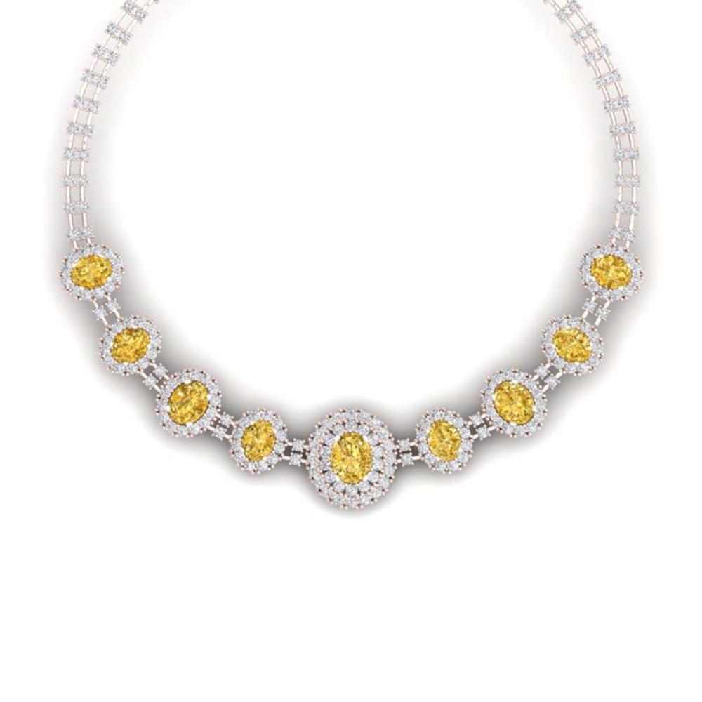 43.20 ctw Canary Citrine & VS Diamond Necklace 18K Rose Gold - REF-1490K9W - SKU:38806