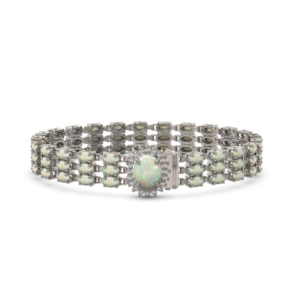 21.59 ctw Opal & Diamond Bracelet 14K White Gold - REF-212M2F - SKU:45836