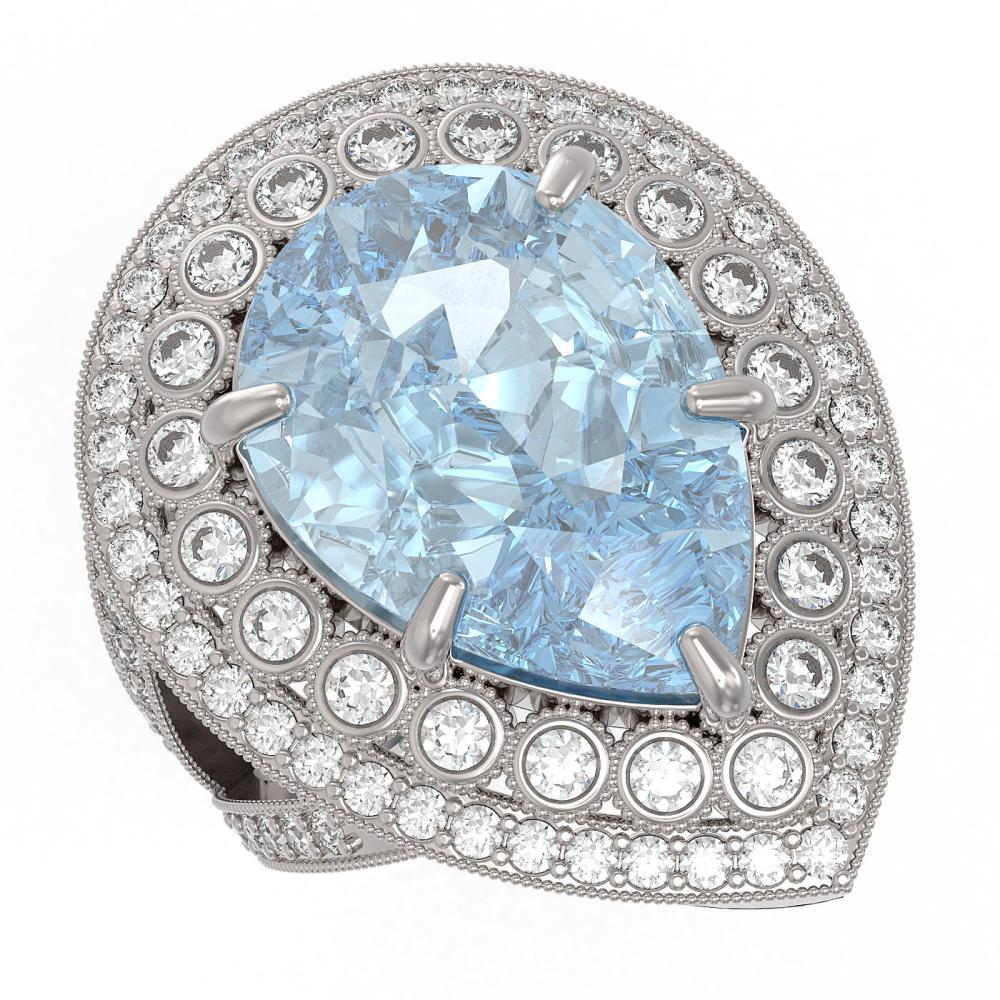 18.04 ctw Sky Topaz & Diamond Ring 14K White Gold - REF-251M6F - SKU:43289