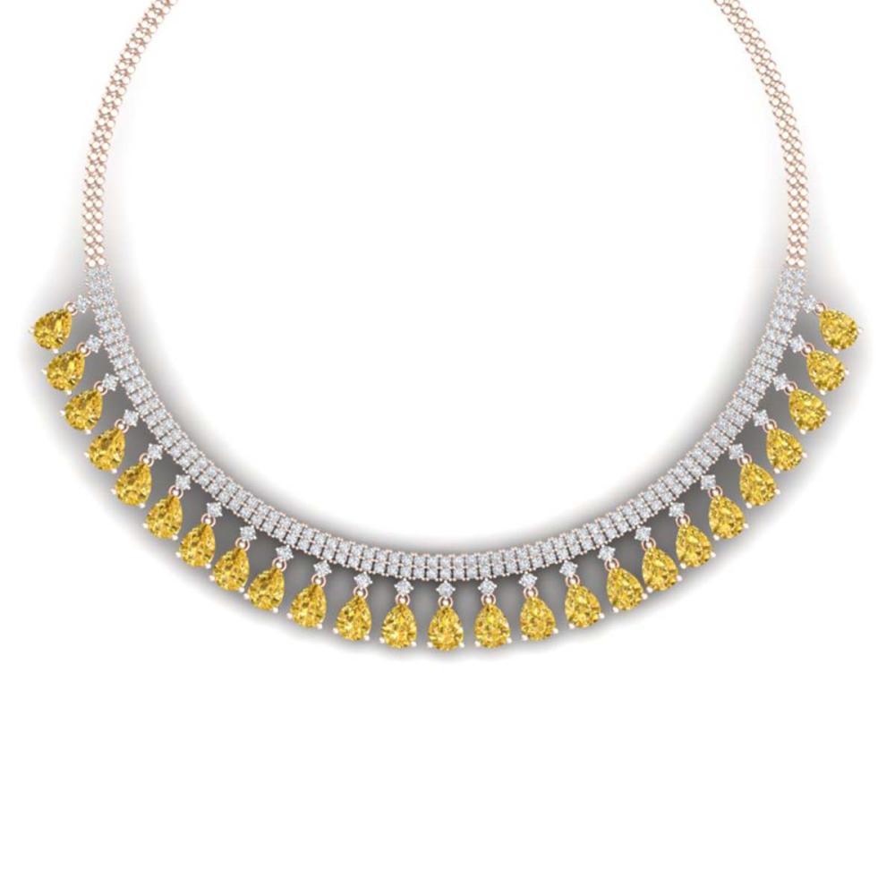 39.66 ctw Canary Citrine & VS Diamond Necklace 18K Rose Gold - REF-854V5Y - SKU:38884