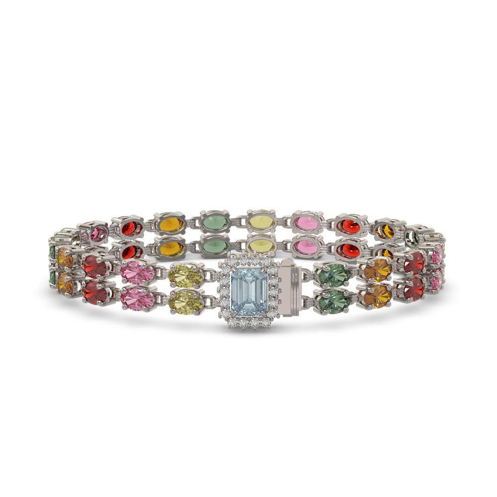 27.91 ctw Sapphire & Diamond Bracelet 14K White Gold - REF-309W8H - SKU:45812