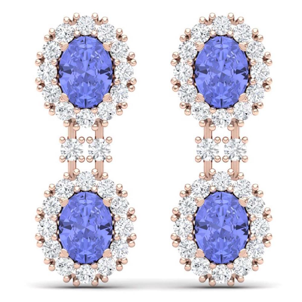 8.35 ctw Tanzanite & VS Diamond Earrings 18K Rose Gold - REF-263Y6X - SKU:38818