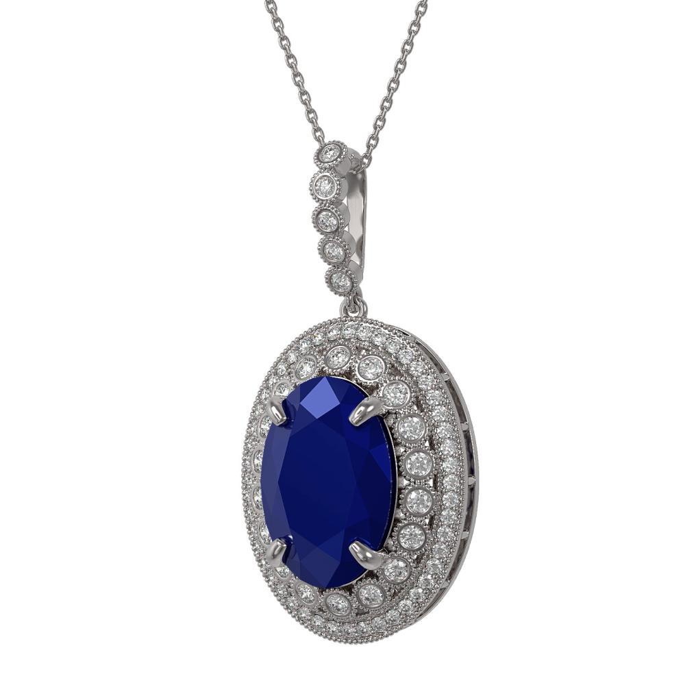 18.25 ctw Sapphire & Diamond Necklace 14K White Gold - REF-314F9N - SKU:43898