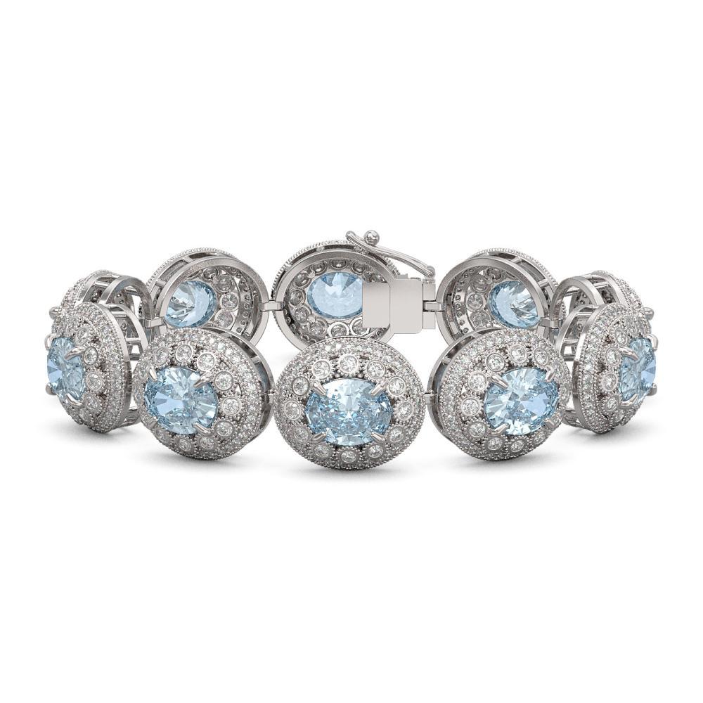 39.82 ctw Aquamarine & Diamond Bracelet 14K White Gold - REF-1371X3R - SKU:43721