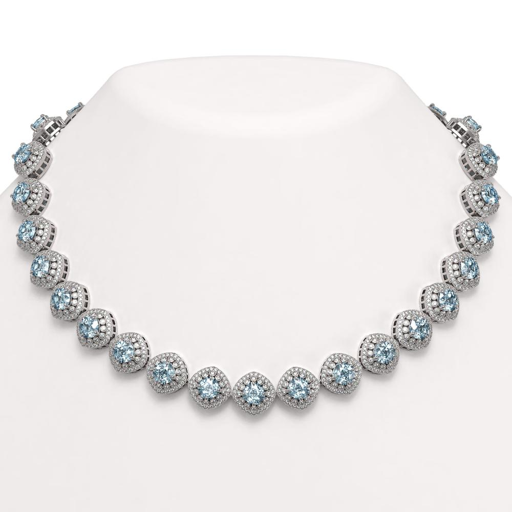 72.27 ctw Aquamarine & Diamond Necklace 14K White Gold - REF-2169K8W - SKU:44108