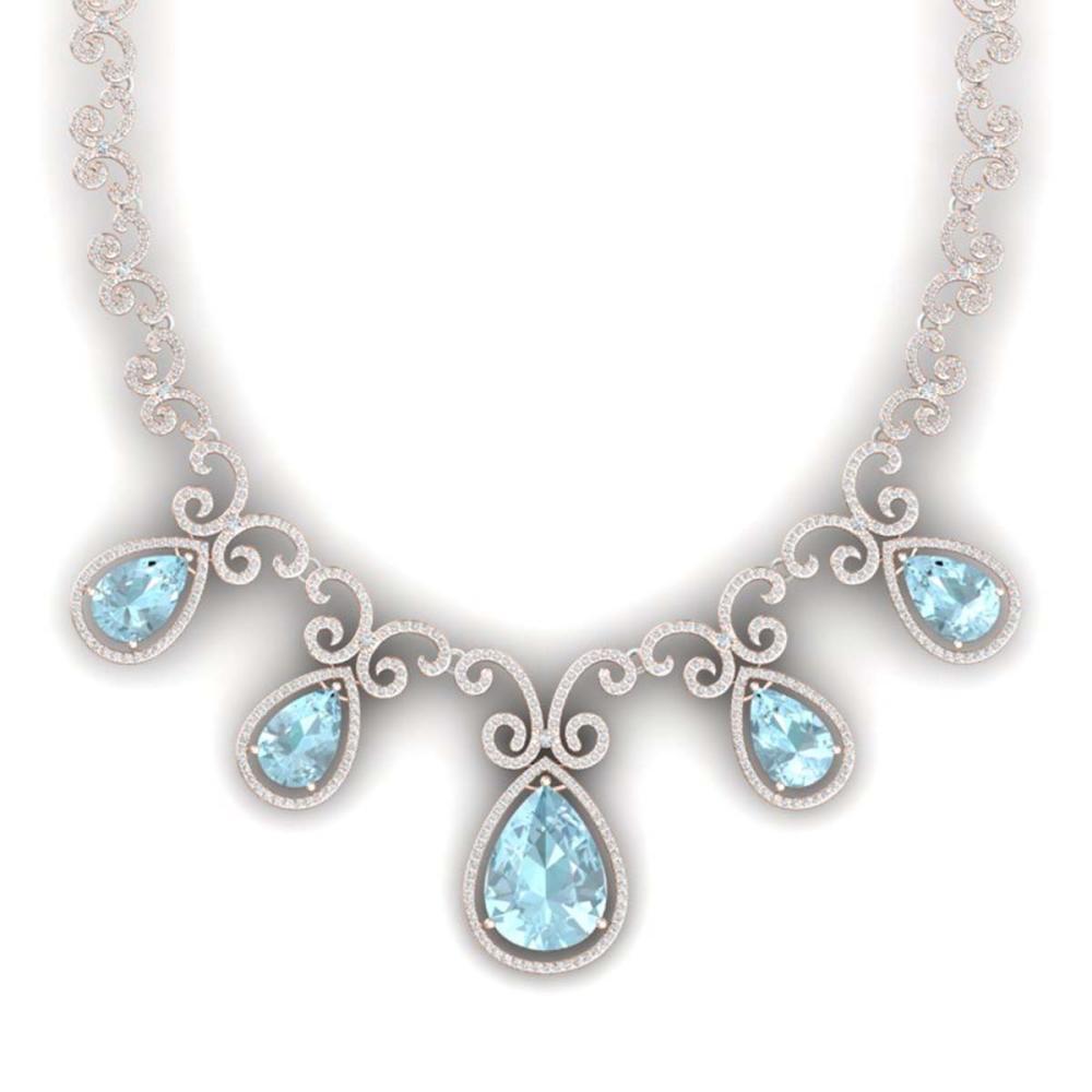 40.45 ctw Sky Topaz & VS Diamond Necklace 18K Rose Gold - REF-1036Y4X - SKU:39535