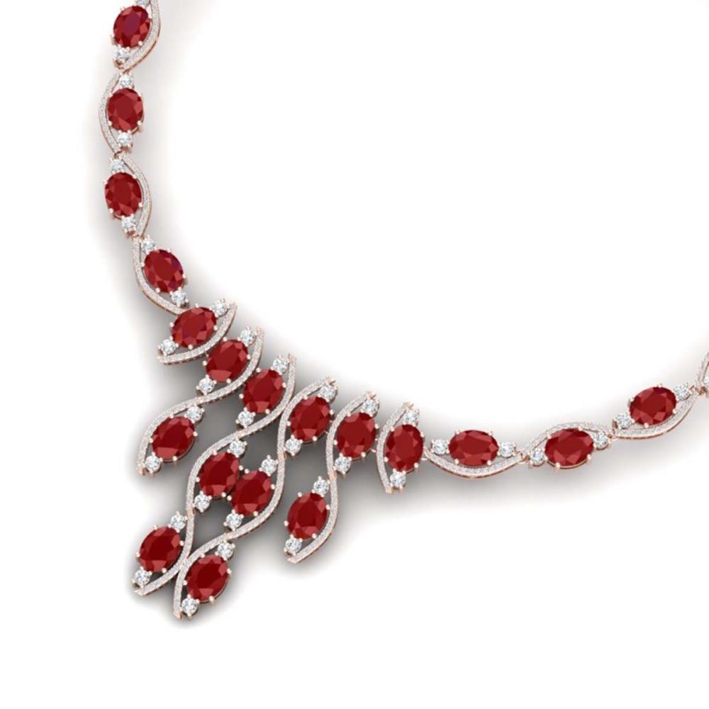65.93 ctw Ruby & VS Diamond Necklace 18K Rose Gold - REF-1145N5A - SKU:38998