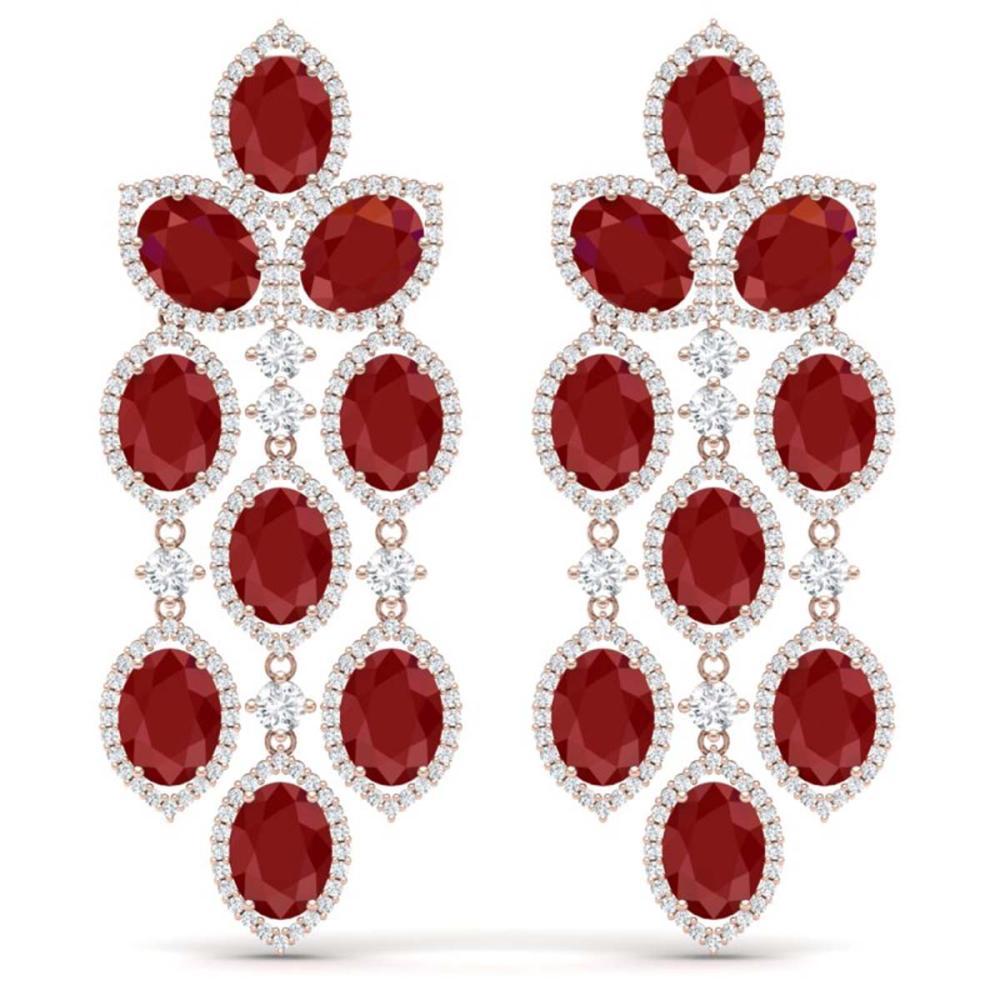 26.15 ctw Ruby & VS Diamond Earrings 18K Rose Gold - REF-500W2H - SKU:38926